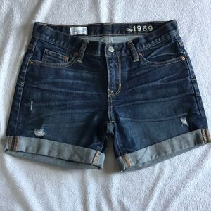 GAP Sexy Boyfriend distressed dark jean shorts.